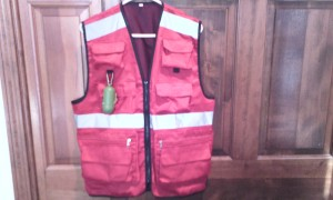 EZ Dog Walker's Vest in Beautiful Red Color - Features custom zipper pockets and Velro pockets, clips, Safety Reflective Strips, and so much more!